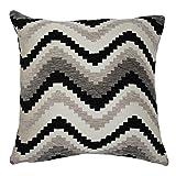 McAlister Navajo Plush Textured Chenille 24'' Decor Pillow Cover | Gray Black White Zip 24x24 Throw Cushion Case | Zig Zag Woven Linen Modern Aztec MoroccanBoho Accent