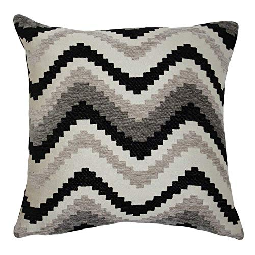 McAlister Navajo Plush Textured Chenille 24'' Decor Pillow Cover   Gray Black White Zip 24x24 Throw Cushion Case   Zig Zag Woven Linen Modern Aztec MoroccanBoho Accent by McAlister Textiles