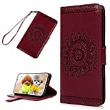 iPhone X Wallet Case, YOKIRIN PU Leather Dream Catcher 3D Relief Totem Mandala Embossed Folio Flip Full Protective Cover with Credit Card Holder Kickstand Magnetic Closure for iPhone X, Red