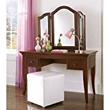 NE Kids Walnut Street Desk with Vanity Storage Mirror, Chestnut