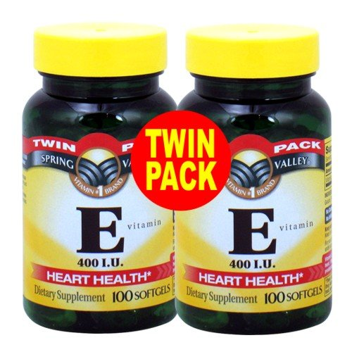 Spring Valley - Vitamine E 400 UI, 200 gélules, Twin Pack