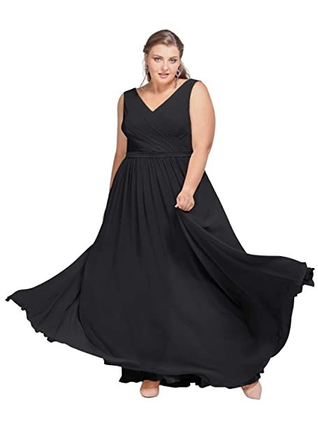 AW V-Neck Plus Size Bridesmaid Dresses Long Formal Dresses for Women Maxi  Evening Gowns