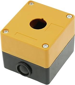 Amarillo y negro plástico 22 mm agujero 1 caja interruptor de botón estación de Control: Amazon.es: Bricolaje y herramientas
