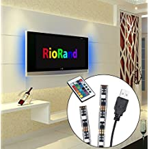 RioRand 2-Piece 5V Lighting for HDTV USB LED Strip Multi Color RGB LED Neon Accent Lighting System Kit for Flat Screen TV LCD, Desktop PC