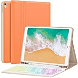 "iPad Pro 10.5 Case with Keyboard 2017 for iPad Air 3rd Gen 10.5 2019 - Hundreds of DIY/7 Colors Backlight - Detachable Keyboard with Pencil Holder Folio Cover for New iPad Air 10.5"" Inch, Papaya"