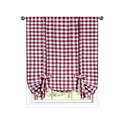 (GoodGram Buffalo Check Plaid Gingham Custom Fit Window Curtain Treatments Assorted Colors, Styles & Sizes (Tie up Shade,)