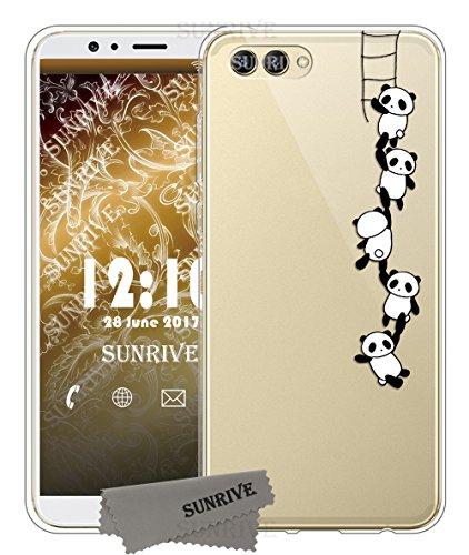 Funda Para Honor View 10, Sunrive Silicona Funda Slim Fit Gel Transparente Carcasa Case Bumper de Impactos y Anti-Arañazos Espalda Cover(tpu Unicornio 2)+1 x Lápiz óptico tpu Panda 1