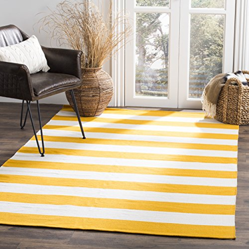 Safavieh Montauk Collection MTK712A Handmade Flatweave Yellow and Ivory Cotton Square Area Rug (8' Square) - Transitional 8' Square Rug