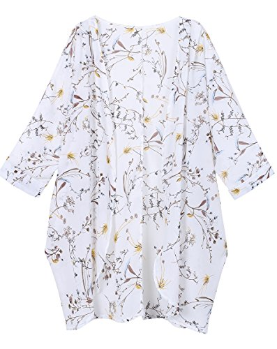 OLRAIN Women's Floral Print Sheer Chiffon Loose Kimono Cardigan Capes Large White-3 (Hot Outfits To Wear To A Party)