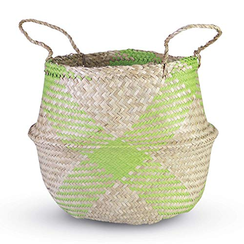 HandyMake Seagrass Belly Basket – 10 Basket Planter Styles in Small, Medium or Large for Home Décor, Laundry, Storage, Toy Organizer, Picnic, Nursery Hamper Use (Seagrass Grid Plush Green, Medium)
