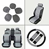 seat covers for 1987 corvette - SCITOO Universal Black/Gray Car Seat Cover w/Headrest/Steering Wheel/Shoulder Pads 12Pcs Breathable Embossed Cloth Retractable