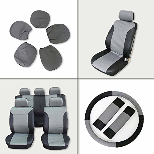 SCITOO Universal Black/Gray Car Seat Cover w/Headrest/Steering Wheel/Shoulder Pads 12Pcs Breathable Embossed Cloth Retractable