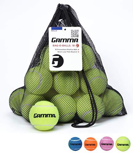 Gamma Bag of Pressureless Tennis Balls - Sturdy & Reuseable Mesh Bag with Drawstring for Easy Transport - Bag-O-Balls (18-pack of balls, Yellow)