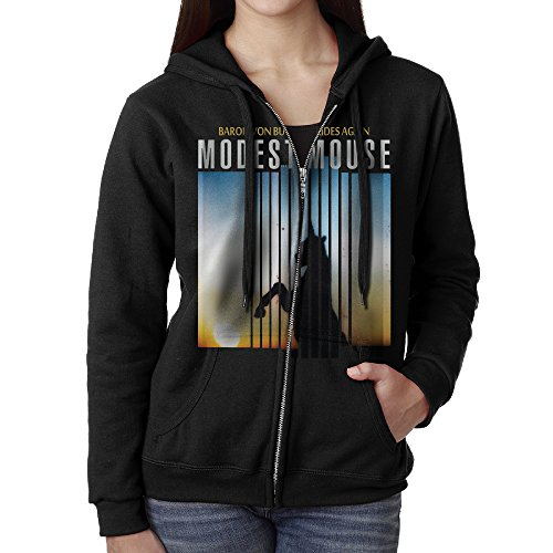 [KOBT Women's Modest Mouse Baron Von Bullshit Rides Again Full Zip Hooded Sweatshirt Jackets Black Size] (Modest Nerd Costume)