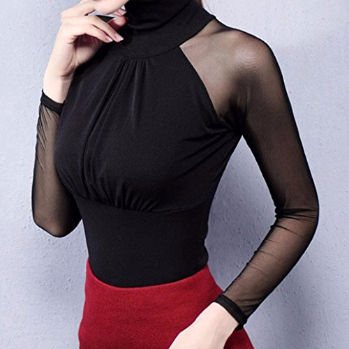 MYQyiyi Mujer camiseta de gasa de Cuello alto costurade Color sólido ocasional Negro