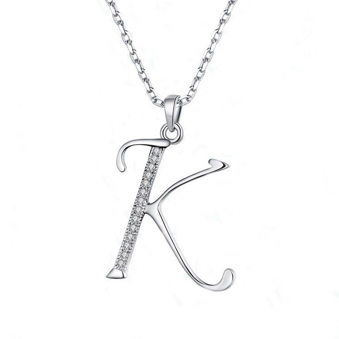 JUFU Fashion Jewelry 925 Sterling Silver 26 Alphabet Letter Pendant Necklace 18+2'' (Alphabe K)