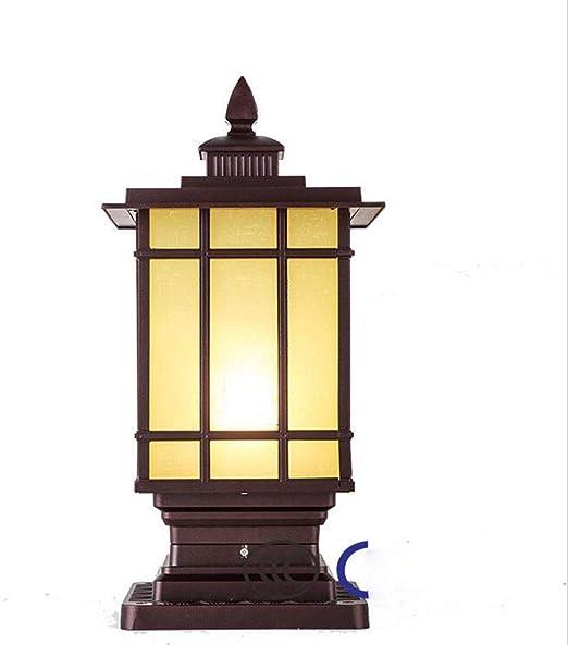 MICHEN LED Columnas Decorativas Poste Farol Poste de la lámpara Camino Jardín Luz Iluminación del Paisaje Patio Patio Patio Cubierta Césped Patio Trasero, LED,Brown: Amazon.es: Hogar