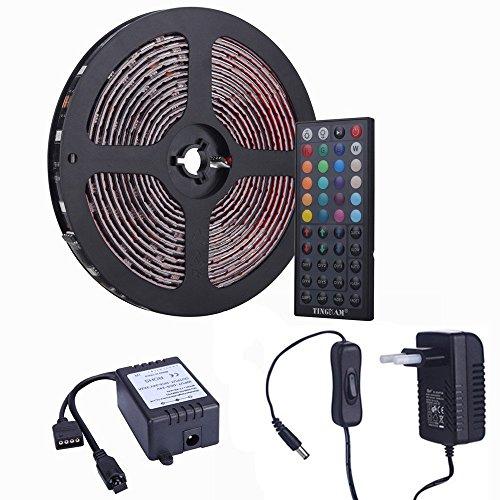 Tingkam 10m 5050 SMD wasserdichtes IP44 flexibles RGB 300 LED Streifen Stripe Set Lichtstreifen Kit in Schwarz PCB + 44 Tasten Fernbedienung + EU Netzadapter
