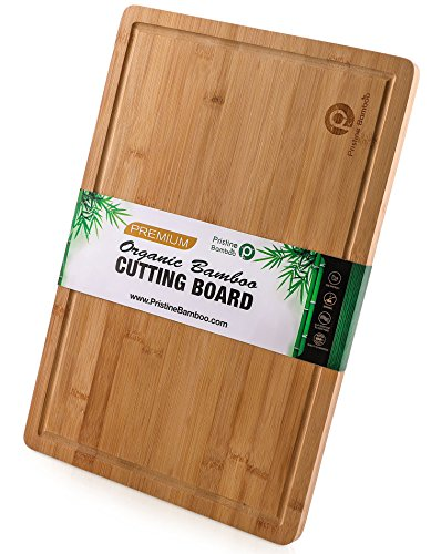"- EXTRA LARGE ORGANIC Bamboo Cutting Board w/Handles and Juice Grooves | Free Non-slip Grips |Wooden Chopping Board for Meat (Butcher Block), Vegetables, Fruit | Perfect Serving Board (18 x 12"")"