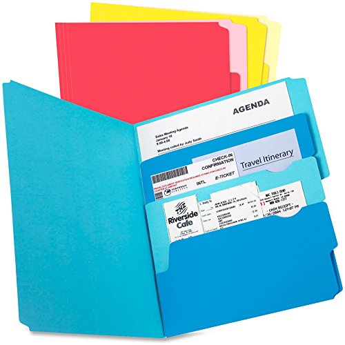 (TOPS 10772 Divide it Up File Folder, Multi Section, 1/2 Cut Tab, Letter, Assorted, 24/Pack)
