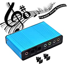 Sound Card, VAlinks 6 Channel External Sound Card USB 2.0 External 5.1 Surround Sound Optical S/PDIF Audio Sound Card Adapter for PC Laptop Recording Compatible with Windows 10 / 8 / 7/ XP,Blue