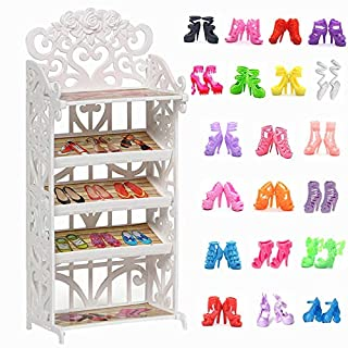 DoubleWood 1 Doll Shoes Rack + 20 Pairs Doll Shoes Replacement Playset Accessories Different Assorted Colors High Heel Boots Sandals Doll Shoes Set for 11.5 Inch Girl Doll