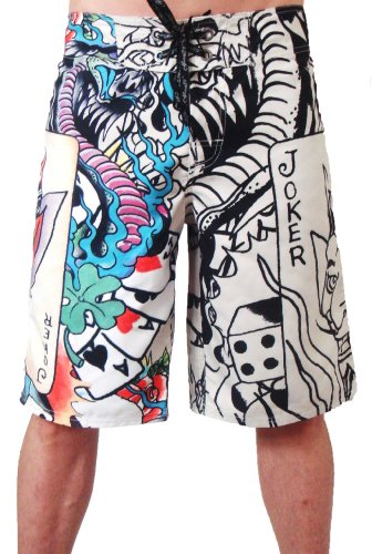 New 2011 Ed Hardy Live Once Joker Board Shorts Swim Surf Trunks EHM04OL (33) - Ed Hardy Boardshorts