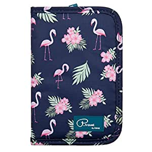 Family Passport Holder Document Organizer, Waterproof Flamingo Print Travel Wallet Purse with Zip Closure Ticket Credit ID Card Cash Pouch Holiday Money Bag for Men Women by ManKn (Flamingo)