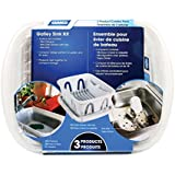 Camco 43517 White Sink Kit with Dish Drainer, Dish Pan and Sink Mat