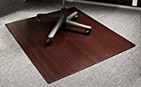 Anji Mountain Natural Fiber Wooden Slat Roll-Up Chairmat Without Lip, Dark Cherry, 42 x 48-Inch