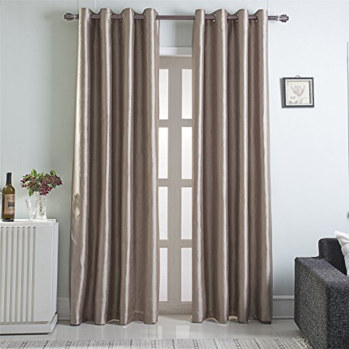 GYROHOME Heavy Faux Silk Blackout Curtains Fully Lined Solid Color Window Treatment Drapes for Bedroom and Living Room Thermal Insulated Grommet Top Room Darkening Drapes,2 Panels (Raw Silk Drapes)