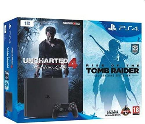 Console PlayStation 4 1 To Chassis D Slim Noir + Uncharted 4 + Rise Of The Tomb Raider [Importación francesa]: Amazon.es: Videojuegos