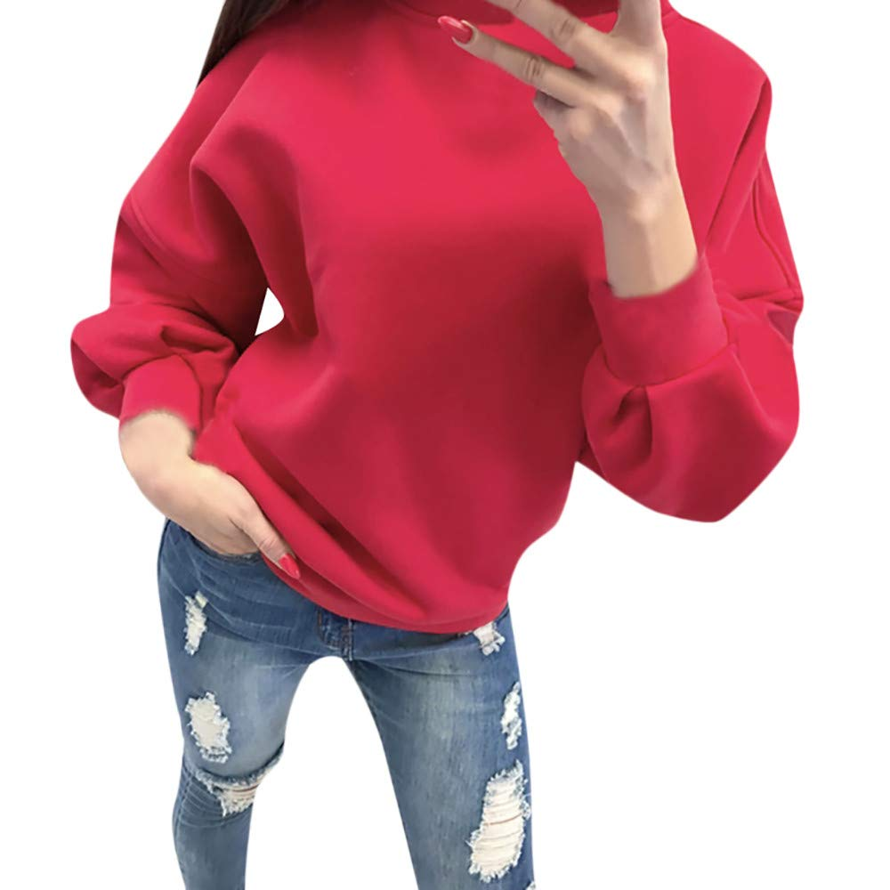BOLUOYI Fashion Hoodie Women Casual Solid Long Sleeve Pullover Blouse Shirts Sweatshirt RD/S S