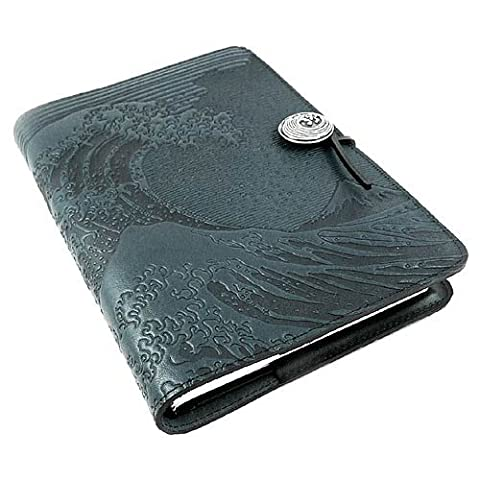 Hokusai Wave American-Made Embossed Leather Writing Journal, Navy Blue, 6 x 9-inch + Refillable Hard Bound - Oberon Journal