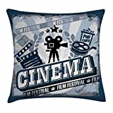 Ambesonne Movie Theater Throw Pillow Cushion Cover, Vintage Cinema Poster Design with Grunge Effect and Old Fashioned Icons, Decorative Square Accent Pillow Case, 16 X 16 inches, Blue Black Grey