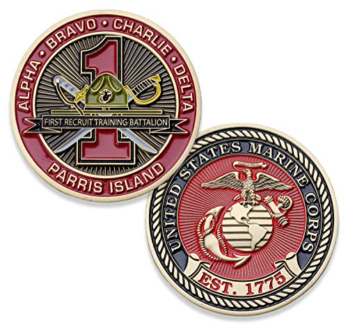 - USMC First Recruit Training Battalion Challenge Coin - 1st BN Parris Island - Marine Corps Training Military Coins - Designed by Marines for Marines - Officially Licensed