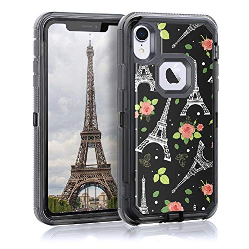 Maxcury for iPhone XR Case, Durable 3 in 1 Hard PC & Soft TPU Heavy Duty Shockproof Protection Transparent Case for iPhone XR in 6.1 Inch (Eiffel Tower Black)