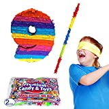 Number 9 Pinata Kit Including Pinata, 2 lb Candy Filler, Buster Stick and Bandana for Kids Ninth Birthday