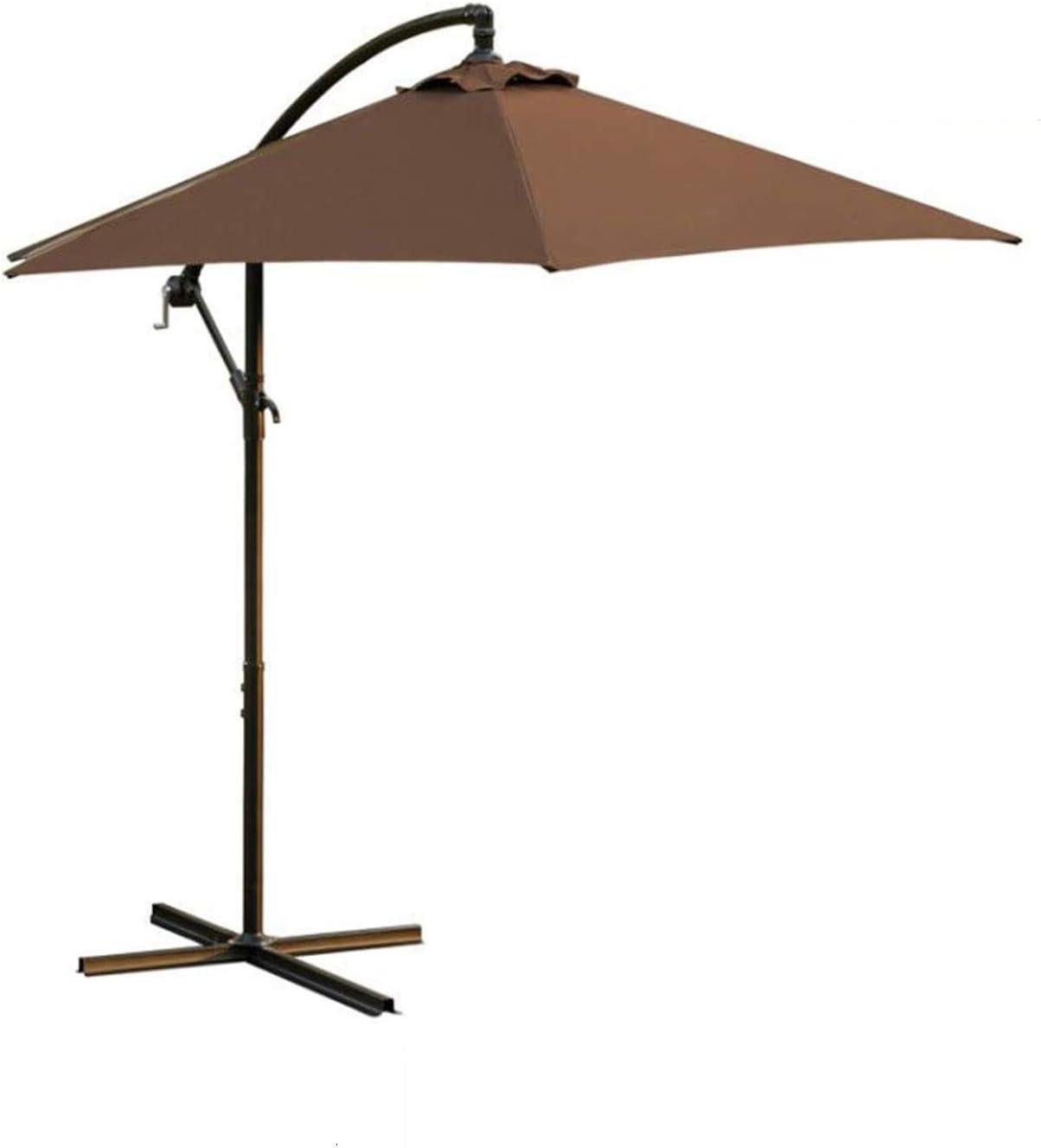 LOKATSE HOME 10 Ft Offset Cantilever Outdoor Patio Hanging Market Backyard Umbrella with Crank & Cross Base, Brown