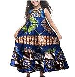 XQS Big Little Girl Fine Cotton African Printed Sleeveless Dresses Dark Blue XXL