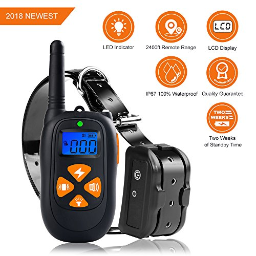 Micho 2018 Newest Dog Training Collar Remote, 800 Yards Electric Repellent Dogs, 100% Waterproof Rechargeable Controller Beep, Vibration Light (3.222.5 inch) Review