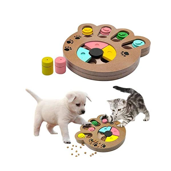 coldshine Dog Puzzle Toy Interactive Dog Toys Pet Dog Wooden Game IQ Training Toy Food Dispensing Puzzle Plate 4