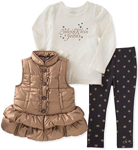 Calvin Klein Baby Girls' 3 Pc Puffer Vest Set, Vanilla/Gold, 12M by Calvin Klein
