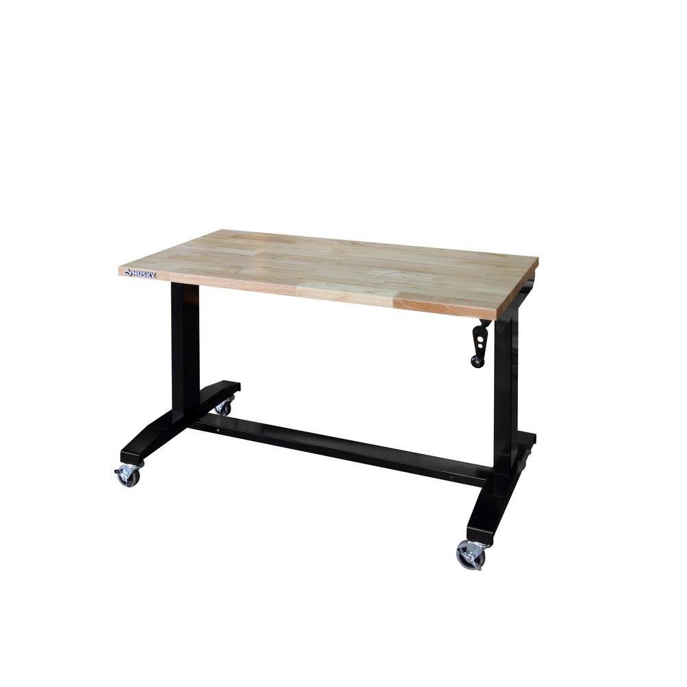46 in. W x 24 in. D Adjustable Height Workbench Table in Black