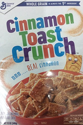 Cinnamon Toast Crunch Cereal 12 Ounce (Pack of 2) - Crispy, Sweetened Whole Wheat & Rice Cereal with Real Cinnamon - Cinnamon Crunch Toast Cereal