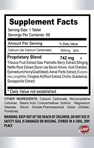 Sexual enhancement for men - NATURAL TESTOSTERONE BOOSTER 742 Mg - Sexual energy for men - 6 Bottles 414 tablets by PL NUTRITION (Image #1)
