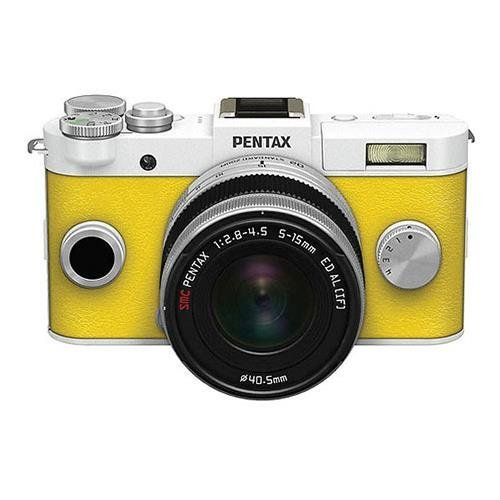 Pentax Q-S1 Mirrorless Digital Camera with 5-15mm Zoom Lens, Shake Reduction, 3-inch LCD Monitor, 5 FPS, Full 1080p h.264 HD video - Pure White / Canary Yellow