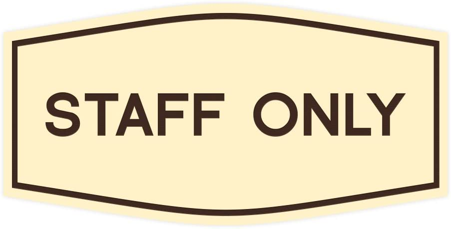 Fancy Staff Only Sign Black Small