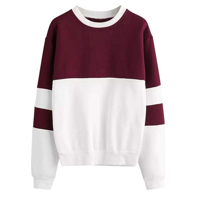 Overdose Mejor Venta Womens Lady Long Sleeve Stitching Sweatshirt Jumper Black Pullover Top Blusa SeñOra Sudadera con Capucha: Amazon.es: Ropa y accesorios