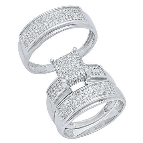 0.65 Carat (ctw) Sterling Silver Round Diamond Men's & Women's Micro Pave Engagement Ring Trio Set by DazzlingRock Collection